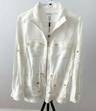 CALVIN KLEIN Off White Linen Roll Sleeve  Shirt  Front Zipper Tunic size L - NWT