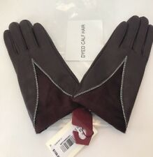 Dents 7-2407 Layla Wool Lined Haircalf Leather Gloves Claret SZ S NWT $158