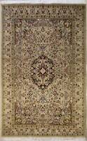 Rugstc 5x8 Senneh Pak Persian Beige  Rug, Hand-Knotted,Floral with Silk/Wool