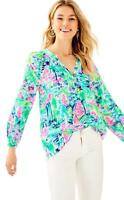 NWT $158 LILLY PULITZER Elsa Silk Blouse Salt is in the Air Size XS