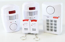 INTRUDER BURGLAR ALARM TWIN WIRELESS  PIR TWIN RMOTES KEYCODE PANEL DOOR SENSOR