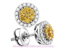 10K White Gold Canary Yellow Diamond Absolutely Beautiful Stud Earrings .52Ct