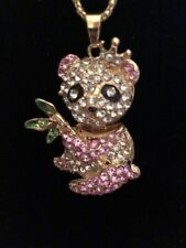 Betsey Johnson Necklace PANDA Pink  And Gold Enamel Crystals Gift Box