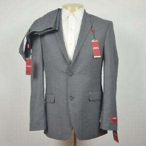 NWT ALFANI Slim Fit Stretch Sharkskin Mid Gray Suit Flat Front Pant 38R 32 x 30