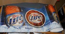 """2007 Miller Lite Beer Corrugated Banner Sign 10 Labels 26"""" X 16"""" Basketball 21'"""