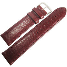 20mm Mens Fluco Record Burgundy Buffalo-Grain Leather German Watch Band Strap