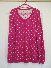 Long Sleeve Fine Knit Cerise Pink Cardigan with White Spots Size(M) 12 Chest 38