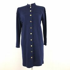 Vtg Liz Claiborne Petite Small Knit Sweater Dress Navy Gold Buttons Wool Blend*