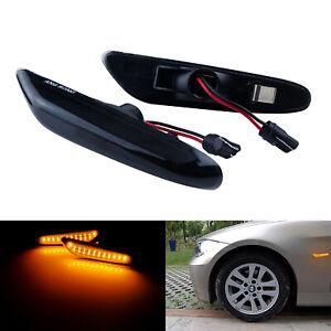 Pour BMW E60 E61 X3 E90 E91 E92 Amber LED Clignotants latéraux Répétiteur Noir