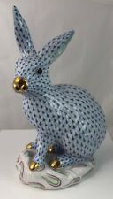 """Herend Porcelain Blue Fishnet Rabbit. 5334. Large 12.5"""" High"""