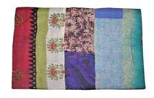 Indian Silk Sari Patchwork Kantha Quilt Embroidered Bedspread Vintage Bedding