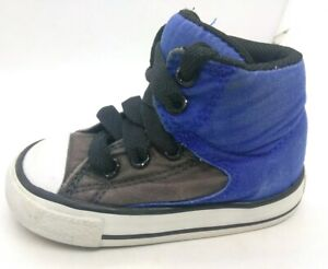 Converse All Stars Baby Boy Size 4 Athletic Shoe Blue/Gray/White Laces High-top
