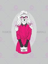 Painting Drawing Design Fashion Animals Pink Poodle Canvas Art Print