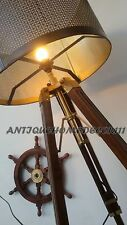 VINTAGE DESIGNER MARINE TRIPOD FLOOR LAMP RETRO TEAK WOOD LIGHT WITHOUT SHADE