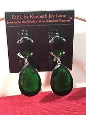 Kenneth Jay Lane Silver Regal Teardrop Emerald Crystal Drop Clip On Earrings New