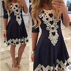 Fashion Women Summer Long Sleeve Lace Evening Party Cocktail Short Mini Dress