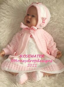 """PAPER KNITTING PATTERN ROSEWATER * 17-23+"""" Reborn/Early Baby - 6 Months approx."""