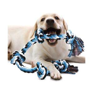 KILIKI Dog Rope Toys for Aggressive Chewers: 3 Feet 5 Knots Indestructible Do...
