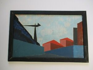 ANTIQUE VINTAGE EXPRESSIONIST PAINTING MODERNIST CUBISM INDUSTRIAL ABSTRACT RARE
