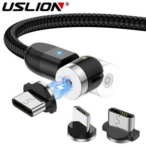USLION Magnetic Type C Micro USB Charging Data Cable For iPhone Samsung Android