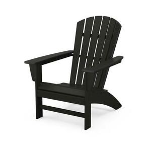 POLYWOOD Patio Chair Plastic Curve Back Outdoor Adirondack Transitional Black