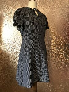 Alexa Chung M&S Archive Elsie Dress Size 8 Blue Polka Dot Puff Sleeve Vintage