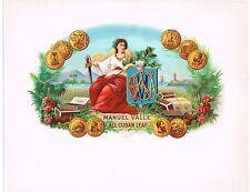 CIGAR BOX LABEL VINTAGE INNER 1900S MANUEL VALLE GOLD COINS CHESTS BOXES LEAF