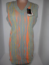 NWT Womens Bagazio Knit V-Neck Sleeveless Sweater Dress Sz L Large Green Orange