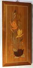 Vintage Italian Inlaid  Marquetry Wood Wall Art Plaque Floral Design