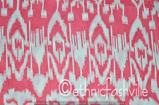 Indian Hand Block Print Fabric 3 Yard Pink Ikat Sewing Material Craft Decor