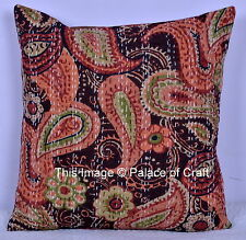 "16"" Indian Art Paisley Cushion Kantha Cover Pillow Case Traditional Ethnic Decor"