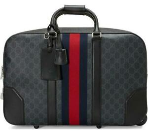 NEW GUCCI BLACK GRAY GG SUPREME CANVAS LEATHER WEB CARRY-ON DUFFLE TROLLEY BAG