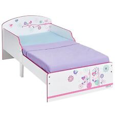 FLOWERS AND BIRDS TODDLER BED JUNIOR KIDS BEDROOM WITH PROTECTIVE SIDE PANELS