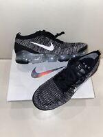 New Nike Air VaporMax Flyknit 3 Oreo Black White Metallic Silver Men's Size 10.5