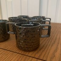 Starbucks SIX 6 Mugs Lot Set 2019 Iridescent Gun Metal Silver Bump Pewter 12oz