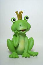 Froschkönig groß Dekofigur mit goldfarbender Krone sitzend Frosch sitzend 17cm