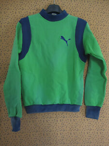 Sweat Puma Vintage vert et marine Made in France 70'S Tracksuit jersey - 14 ans
