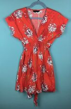 Dorothy Perkins Motif Floral Rouge Col V Ample Mini Robe Taille 8-B36