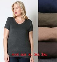Women Plus Size Rayon Basic Scoop Neck Tee T Shirt Short Sleeve  1X 2X 3X