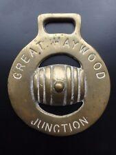 Antique Horse Brass GREAT HAYWOOD JUNCTION Brewery Beer Barrel Design 2 Stafford