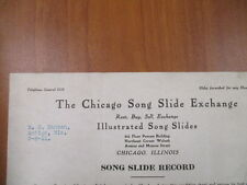 Vintage movie letterhead Chicago song slide exchange song slide record  8-8-1911