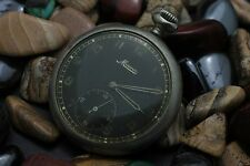 WWII Era MINERVA 16 Size Black Dial Military Pocket Watch