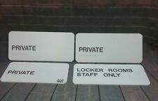 Lot of 4 Information Signs Signage - 3 Private, 1 Locker Rooms Staff Only