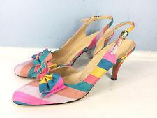 Vintage De Liso Heels Pumps bow Slingback 7.5 8 Career Cocktail Blue Pink Stripe
