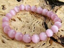 UNISEX Gemstone Stretchable bracelet all 10mm PINK CATS EYE Jewellery beaded