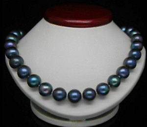 9-10mm AAA+ Natural South Sea Black Pearl Necklace 14k 18 Inch