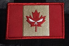 Punisher CANADA ARMY FLAG PATCH COMBAT MORALE MILITARY RED leaf MILSPEC ACU 232
