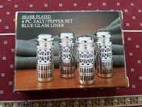 Paul Revere Silversmiths 4 PC. Silver Plated Salt/Pepper Set Blue Glass Liner
