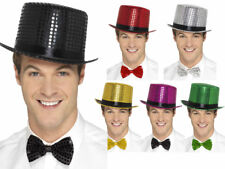 Adults Sequin Top Hat Coloured Show Time Fancy Dress Costume Accessory