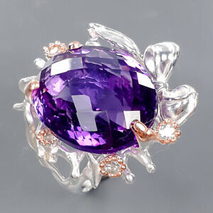 21x17 mm. 30 ct IF Amethyst Ring Silver 925 Sterling  Size 8 /R177650